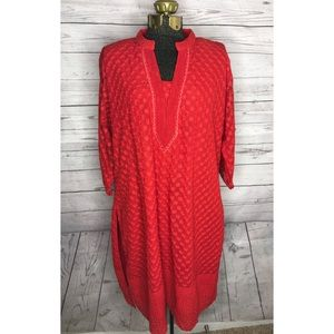 Tops - Indian Kurti Red Tunic Plus Size F1-103